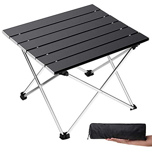 Grope Portable Camping Table with Aluminum Table Top Folding Beach Table Easy to Carry Prefect for Outdoor Picnic BBQ Cooking Festival Beach Home Use Black