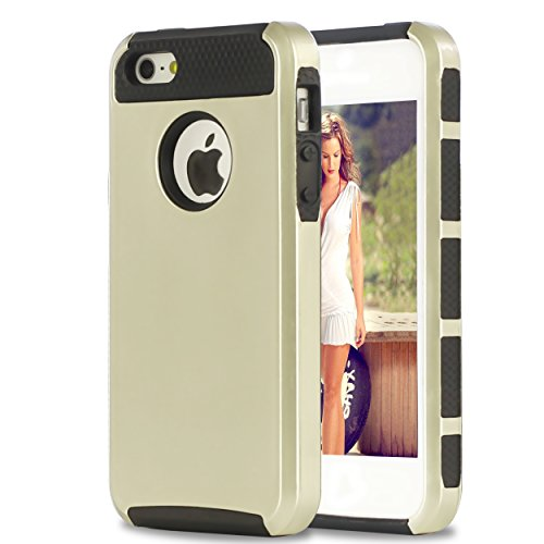 Ailun Phone Case for iPhone 5s iPhone Se iPhone 5 Soft TPU Bumper Hard Shell Solid PC Back Shock Absorption Anti Scratch Hybrid Dual Layer Slim Cover Champagne