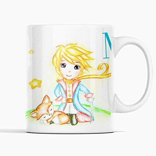 Anian Taza regalo infantil El Principito - Taza personalizada con tu nombre - Regalo de navidades - Regalo de reyes - Taza de cerámica 350ml.