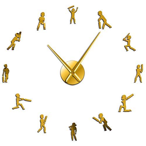 Cricket Sportsman Silhouette DIY Reloj de Pared Gigante Deporte Hombre Adolescente Decoración de habitación Jugador de críquet Movimiento silencioso Reloj de Pared Grande-Gold_47 Inch