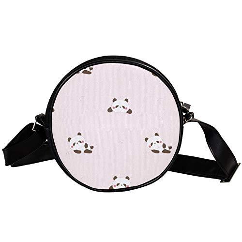 Bandolera Redonda Bolso Pequeño Bolso De Las Señoras De Moda Bolsos De Hombro Bolso De Mensajero Bolsa De Lona Bolsa De Cintura Accesorios Para Las Mujeres - Lzay Panda Patrón