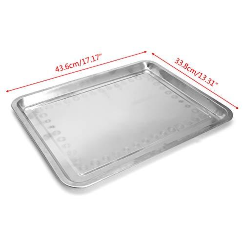 CAREMiLLE Edelstahl Rechteckplatte Grill Gegrilltes Fischtablett Grill Lebensmittelbehälter, 45X35X2Cm Tablettplatte, 45X35X2Cm