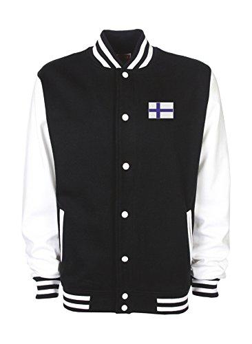 Ann Susan College Jacke Bestickt mit Finnlandfahne und Bedruckt mit Finnland Unisex, oder individuell gestaltbar
