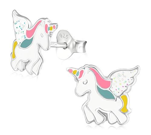 Laimons - Pendientes de tuerca para niña y niño, diseño de unicornio, color rosa, blanco, brillantina colorida, plata de ley 925