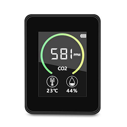 CO2-Kohlendioxid-Detektor, SEAAN- Luftqualität Messgerät,400-5000PPM Messbereich intelligenter Lufttester mit Temperatur-Feuchtigkeits-Anzeige, Gaskonzentrationsgehalt TFT-Farbbildschirm (schwarz)