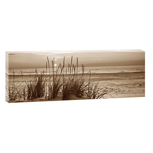 Querfarben Bild auf Leinwand mit Landschaftsmotiv Sonnenuntergang am Meer   150 x 50 cm, Sepia, Wandbild, Leinwandbild mit Kunstdruck, Nordseebild mit Strandmotiv auf Holzrahmen gespannt, 50x150 cm