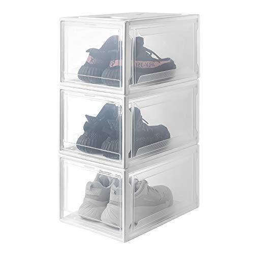 Yorbay Schuhbox, 3er Set, stapelbarer Schuhorganizer, Kunststoffbox mit durchsichtiger Tür, Mehrweg Schuhaufbewahrung, 37 x26 x 20 cm, für Schuhe bis Größe 48, Weiß