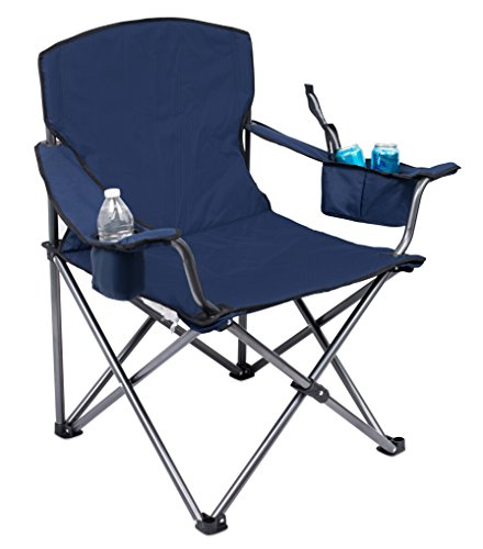 Internet's Best XL Padded Camping Folding Chair - Cooler Bag - Outdoor - Navy Blue - Sports - Insulated Cup Holder - Heavy Duty - Carrying Case - Beach - Extra Wide - Quad