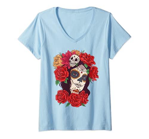 Mujer Day Of Dead - Disfraz de calavera mexicana Camiseta Cuello V