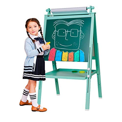 Arkmiido 3 en 1 Caballete de Madera para niños Tablero de Dibujo magnético de Doble Cara Pizarra con Eje de Dibujo y Rollo de Papel, Magnéticos de bonificación, Números, Copas de Pintura (Verd