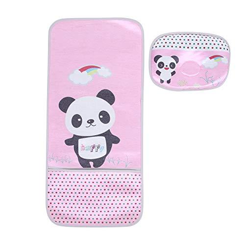 Neugeborenes Baby Ice Silk Mat + Styling Kissen Sommer Cool Kinderwagen Sitz für Kleinkind Kinderwagen Schlafkissen(Panda Pink)