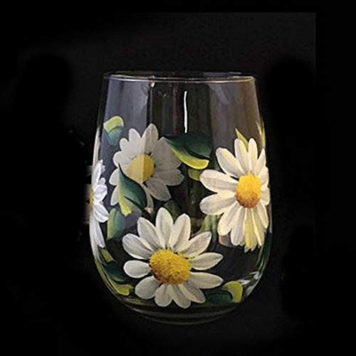 Hand Painted White Daisy Flower Stemless Wine Glass, Gift for her, Daisy Flower Wine Glass 15 oz