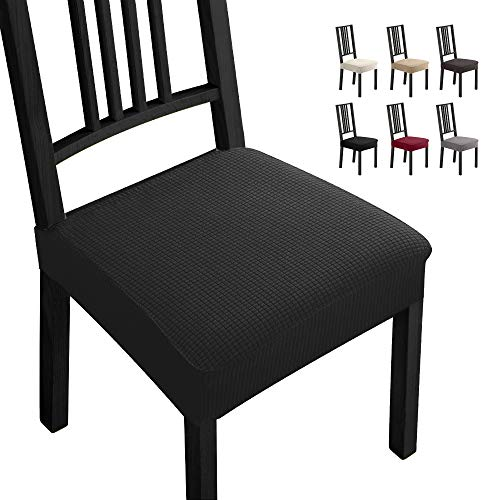Fundas para sillas Pack de 6 Fundas sillas Comedor Fundas elásticas, Fundas de Asiento para Silla,Diseño Jacquard Cubiertas de la sillas,Extraíbles y Lavables-Decor Restaurante (Paquete de 6,Negro) -B