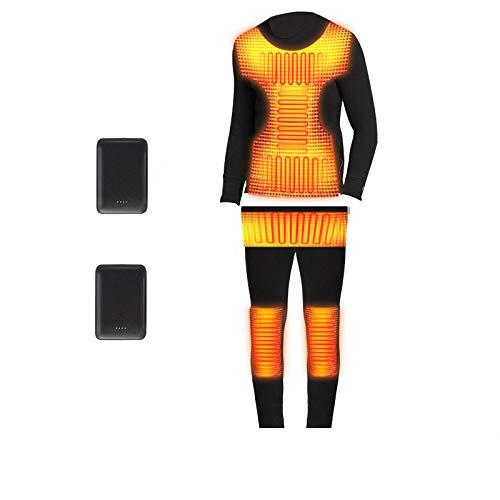 MiSide Biancheria Intima Termica Invernale Canotta Termica e Mutande Lunghe Termiche Ricarica USB Riscaldamento Lavabile Intimo Termico (Top+Pantaloni) per Uomo Donna, Bici Ciclismo Sci,XL165-175CM