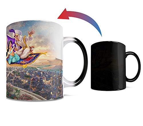 Disney - Aladdin - Princess Jasmine - A Whole New World - Thomas Kinkade - One 11 oz Morphing Mugs Color Changing Heat Sensitive Ceramic Mug – Image Revealed When HOT Liquid Is Added!