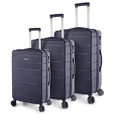 TravelCross Vermont Luggage 3 Piece Ultra-Resistant Lightweight Spinner Set (Dark Blue)