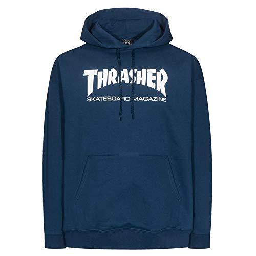 Thrasher Magazine Logo Skate mag Sudadera con Capucha para Hombre, Azul Marino, Talla S