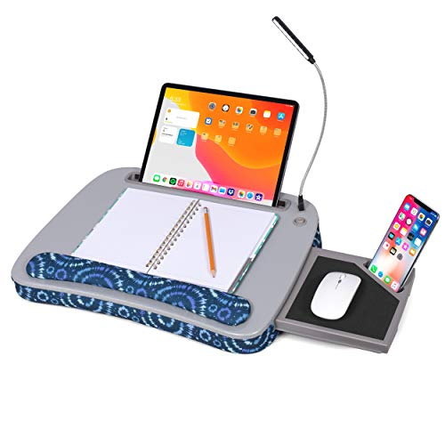 Deluxe Lap Desk for Laptop and Writing - Blue Sunbursts - Laptop Stand Accessories - Home Office Tray - Work from Home - Car Sofa Chair Couch Portable Desk - Pillow - Reading Light - Tablet Slot