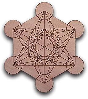 CUBO DI METATRON Ø 16 cm inciso su legno okumè griglia cristalli