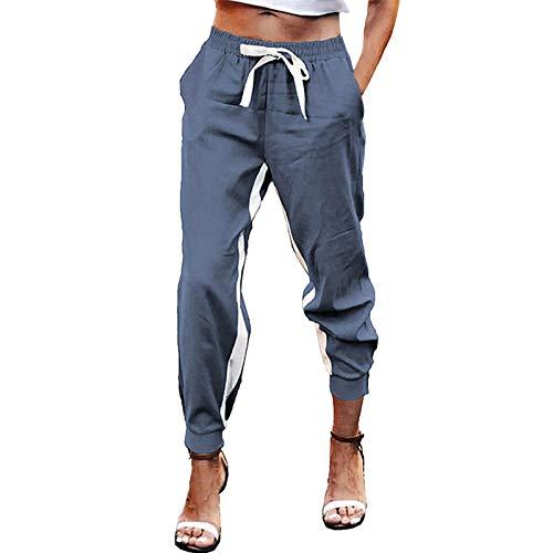 N-B Pantalones Chándal Largos Mujer Primavera con Bolsillos y Cordón Delgado Tallas Grandes Casual Leggins Deportivos Suave Transpirable Mallas de Deporte
