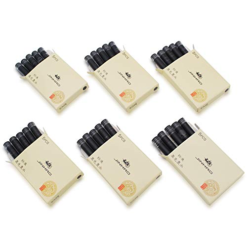 30pcs JINHAO Ink Cartridges Fountain Pen Refills for JINHAO and Baoer Pen Standard Size(Black)