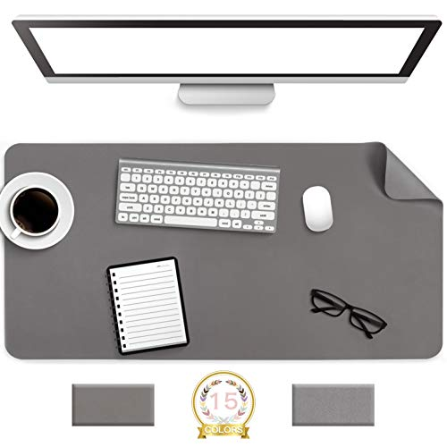 """Non-Slip Desk Pad,Mouse Pad,Waterproof PVC Leather Desk Table Protector,Ultra Thin Large Desk Blotter, Easy Clean Laptop Desk Writing Mat for Office Work/Home/Decor(Dark Gray, 31.5"""" x 15.7"""")"""