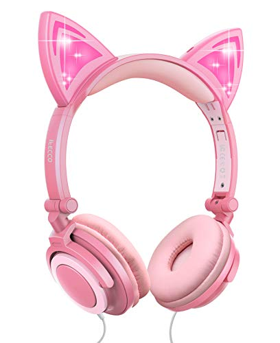 Kids Headphones, Boys Girls Teens Foldable Adjustable Wired On-Ear Headset 3.5mm Audio Jack Stereo Tangle-Free, 85 dB Volume Limited Childrens Headphones for School Home, Travel (Cat Ear, Peach)