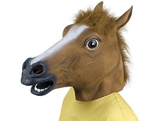 Maschera di testa a cavallo in lattice Brown per divertimento o festa