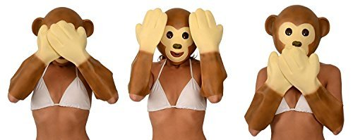 Kangaroo Emoji Universe: Monkey Latex Mask and Hands Costume - Unisex Animal Costume Good for Halloween, Masquerade, Birthday and Kids Party - Fit for All Adults and Kids