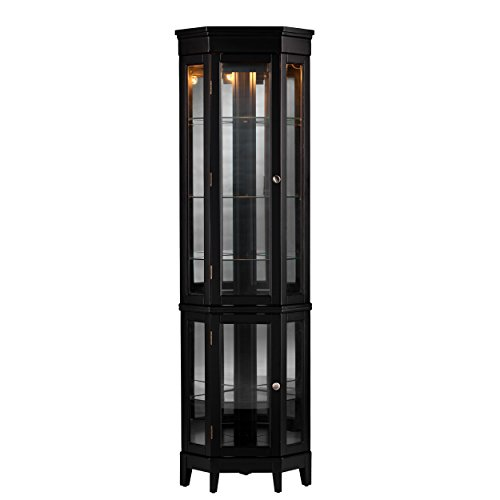Essex Corner Curio Cabinet - Adjustable Glass Shelves - 2 Tier w/ Black Finish