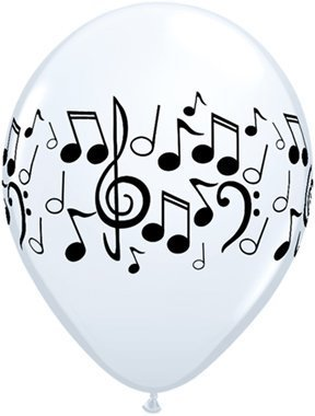 Pioneer Balloon Company 50 Count Music Notes Wrap Latex Balloon, 11, White by Pioneer Balloon Company