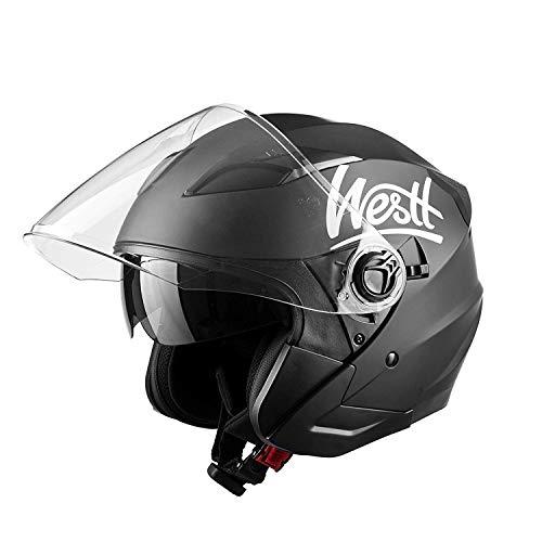 Westt Jet Casco de Moto Abierto Negro Mate con Doble Visera - Motocicleta Scooter - Certificado ECE