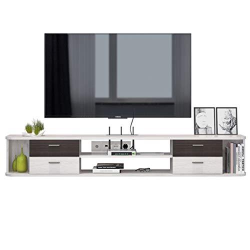 WXLW- shelf Wand-TV-Regal 1.42m schwimmendes Regal TV Media-Möbel Set-Top-Box DVD-Player Projektor Router Lagerung Regal Audio-Video Regalfernsehständer mit 4 Schubladen (Color : White, Size : 1.42m)
