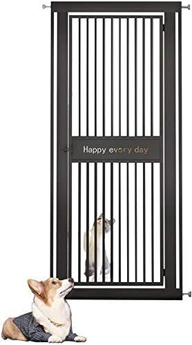 Barrera Seguridad Niños Protector Escaleras Extra Alto 130cm Puerta for Mascotas con Safety Catch Metálico, Puerta Fuerte Adecuado for Perros Grandes-Los 70-74cm_Negro
