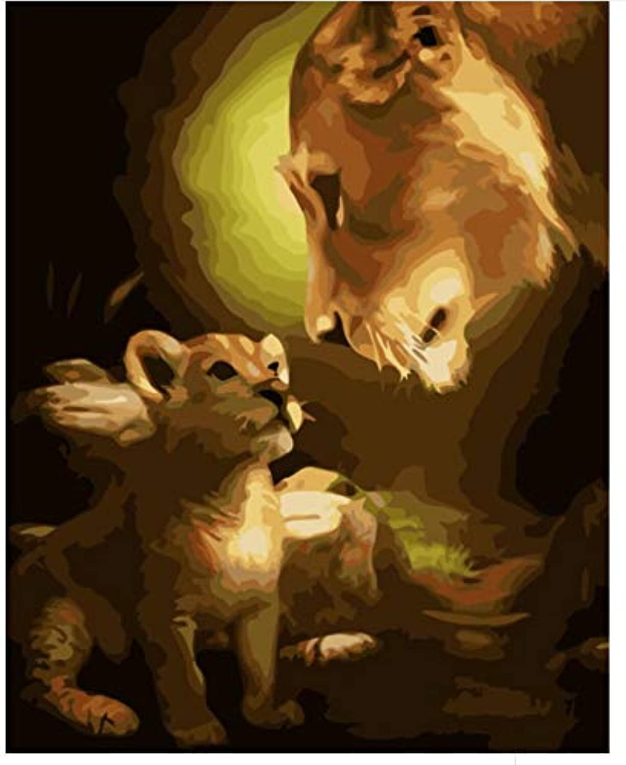 Superlucky Abstract Lion Pictures Painting by Numbers DIY Digital Canvas Oil Painting Home Decor for Living Room Wall Art 40x50cm Mit Rahmen B07J6QRLDV | Neueste Technologie