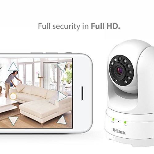 D-Link Indoor Full HD WiFi Security Camera, 2 Way Audio, Pan Tilt Zoom 1080P, Motion Detection, Night Vision, MicroSD
