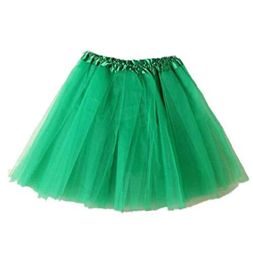 Falda de Tutu Mujer,SHOBDW Pettiskirt Sólido de Gasa Plisada Falda Corta Vestidos De Baile Rendimiento De Disfraces Regalo De Cumpleaños Adulto Mini Tutu Dancing Skirt(Verde-2)