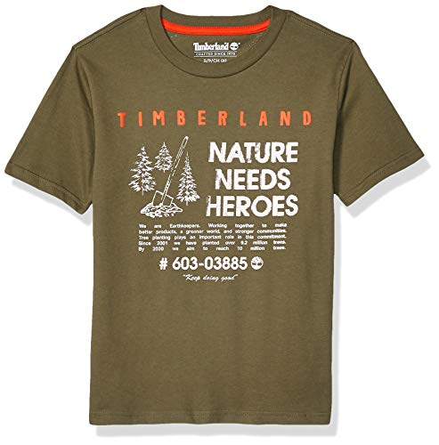 Timberland Jungen Short Sleeve Graphic Print Jersey Tee Hemd, Dark Olive, Mittel