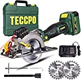 Cordless Circular Saw, TECCPO 18V 4500RPM Laser Mini Circular Saw, 24T 115mm Blade