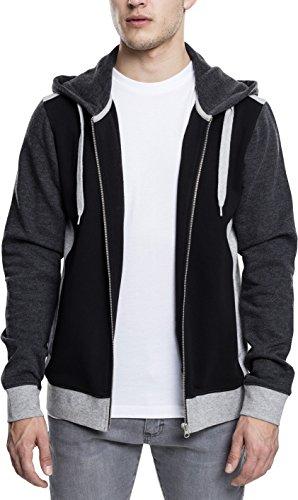 Urban Classics Herren 3-Tone Sweat Zip Hoodie, Streetwear Kapuzenjacke, dreifarbiger Pullover mit Reißverschluss, Känguru-Tasche und Kapuze mit Tunnelzug - black/grey/charcoal, Größe M