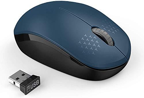 seenda Leise 2.4 GHz Kabellose Maus mit Nano-USB-Empfänger, 1600 DPI Optischer Sensor, für PC, Laptop usw, Saphirblau.