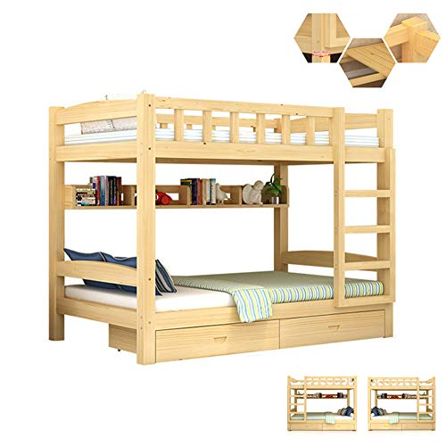 Amazing Deal Twin Over Twin Bunk Beds, Bunk Beds Twin Over Full Size Solid Wood Children's Bed with ...