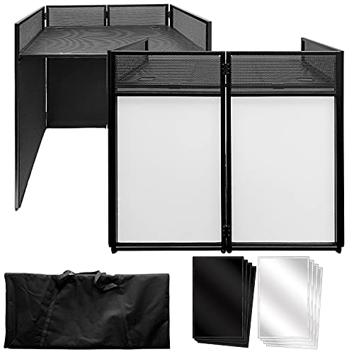 """AxcessAbles ES-01 Event Podium DJ Table Facade, 2ft 9"""" Standing Desk Height, 39.5"""" W x 19.5""""D Work Surface. Video Light Projector Display Booth. Portable with Carrying Bag, Black, White Scrim."""