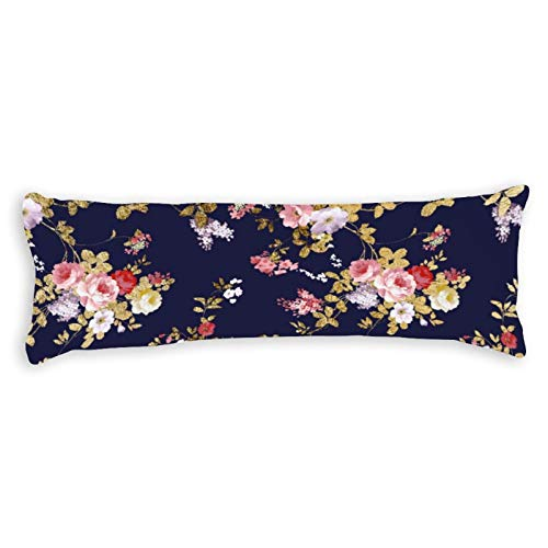 Stylish Navy Blue Pink Gold Boho Floral Ultra Soft Microfiber Long Body Pillow Cover Pillowcases with Hidden Zipper Closure for Kids Adults Pregnant Women, 20' x 54'