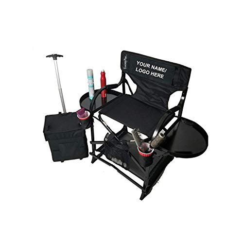 TuscanyPro Portable Makeup & Hairstylist Chair with Storage Cart - Perfect for Makeup, Hair Stylist, Salon with 25 Inch Seat Height - Carry Bag Included - 10 Years Warranty - US Patented