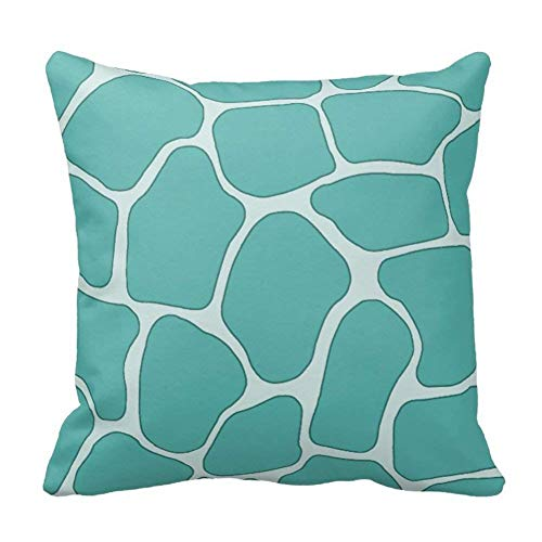 Klotr Fundas para Almohada, Pastel Mint Green Giraffe Animal Print Pattern Throw Pillows Cases, 18 by 18 Inch Throw Pillow Covers Dust Protector with Zipper