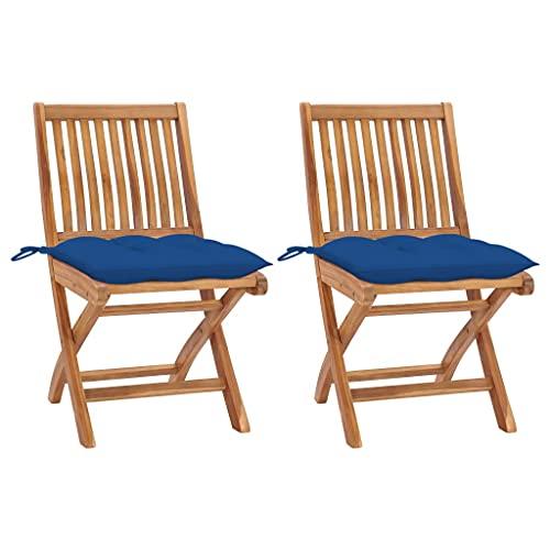 vidaXL - 2 sillas de jardín de teca maciza con cojines para asientos de patio