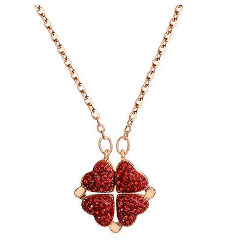 WRISTCHIE - Collana con ciondolo a forma di trifoglio portafortuna, 2 in 1, 2 stili intercambiabili e placcato Argento, colore: Colore oro rosa., cod. M-XL060