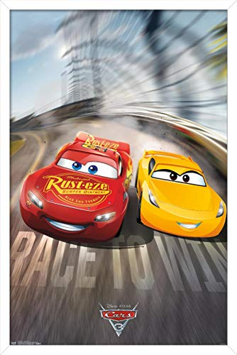 Trends International Disney Pixar Cars 3 - Race to Win Wall Poster, 22.375' x 34', White Framed Version