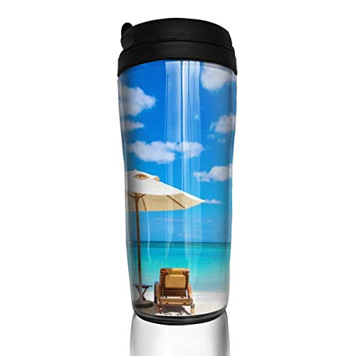 PipiBag Insulated Coffee Mugs Two Chairs On The Beach Thermos Cup Leak-Proof Carry Travel Mug Water Cups Home Office School Ice Drink Hot Beverage